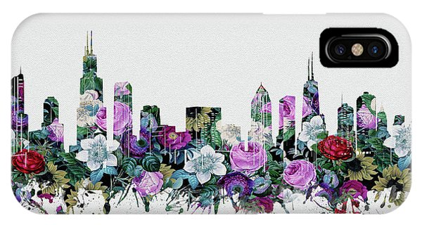 John Hancock Center iPhone Case - Chicago Skyline Floral by Bekim M