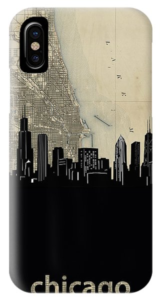 John Hancock Center iPhone Case - Chicago Skyline Map by Bekim M