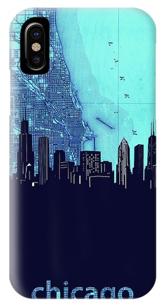 John Hancock Center iPhone Case - Chicago Skyline Map Blue 2 by Bekim M