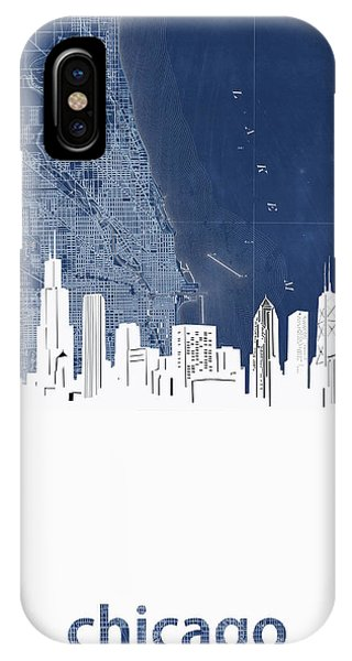 John Hancock Center iPhone Case - Chicago Skyline Map Blue by Bekim M