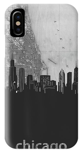 John Hancock Center iPhone Case - Chicago Skyline Map Grey by Bekim M