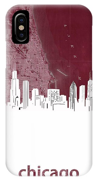 John Hancock Center iPhone Case - Chicago Skyline Map Red by Bekim M