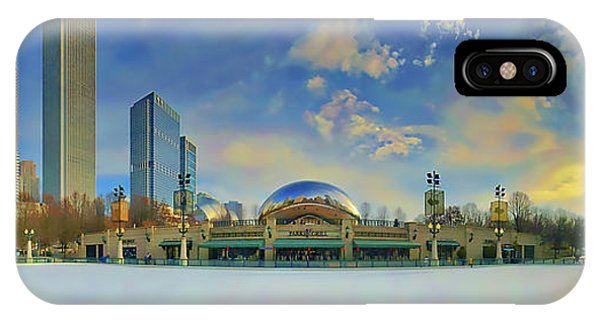 IPhone Case featuring the photograph Chicago Skyline Millennium Park Ice Rink by Tom Jelen