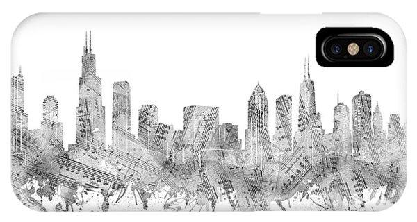 Chicago Art iPhone Case - Chicago Skyline Music Notes by Bekim M
