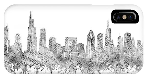 John Hancock Center iPhone Case - Chicago Skyline Music Notes by Bekim M