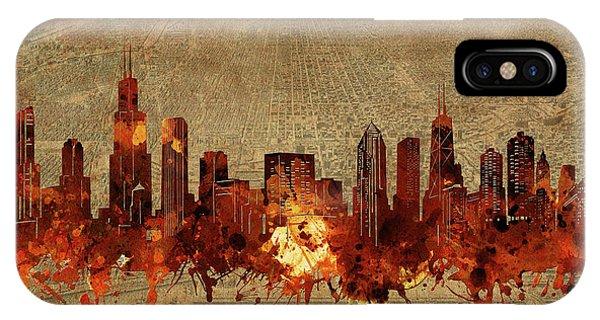Chicago Art iPhone Case - Chicago Skyline Vintage 2 by Bekim M