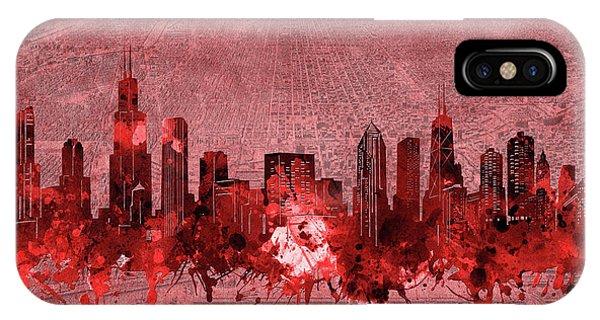 Chicago Art iPhone Case - Chicago Skyline Vintage 3 by Bekim M