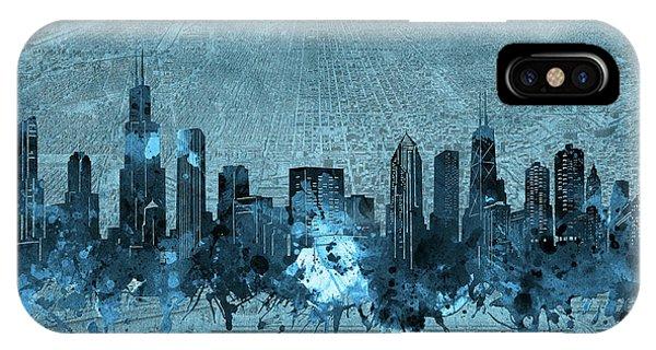 Chicago Art iPhone Case - Chicago Skyline Vintage 4 by Bekim M