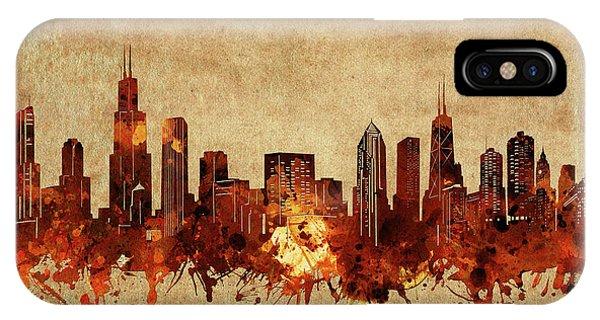 Chicago Art iPhone Case - Chicago Skyline Vintage by Bekim M