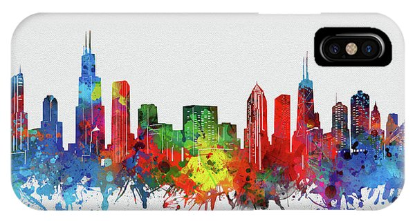 Chicago Art iPhone Case - Chicago Skyline Watercolor 2 by Bekim M