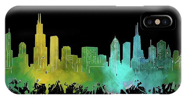 Chicago Art iPhone Case - Chicago Skyline Watercolor 3 by Bekim M