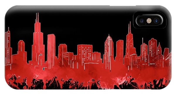 Chicago Art iPhone Case - Chicago Skyline Watercolor 5 by Bekim M