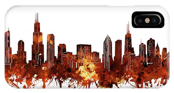 Chicago Art iPhone Case - Chicago Skyline Watercolor 6 by Bekim M