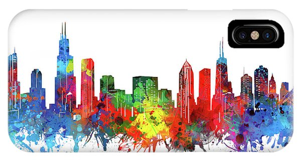 Chicago Art iPhone Case - Chicago Skyline Watercolor by Bekim M