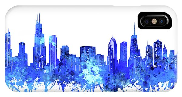 Chicago Art iPhone Case - Chicago Skyline Watercolor Blue by Bekim M