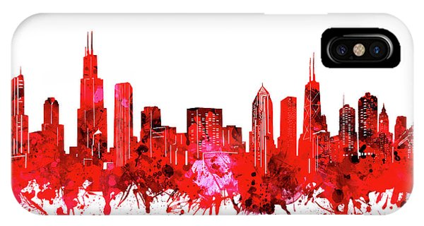 Chicago Art iPhone Case - Chicago Skyline Watercolor Red by Bekim M