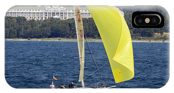 Chicago To Mackinac Yacht Race Sailboat With Grand Hotel IPhone Case