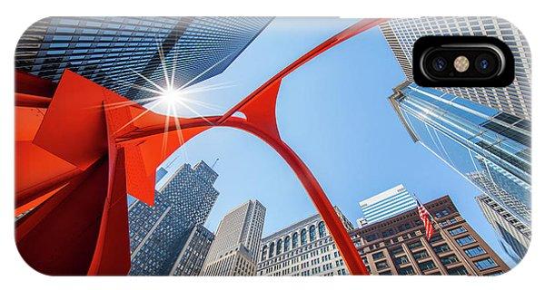 Chicago Skyline Art iPhone Case - Chicago Upwards by Inge Johnsson