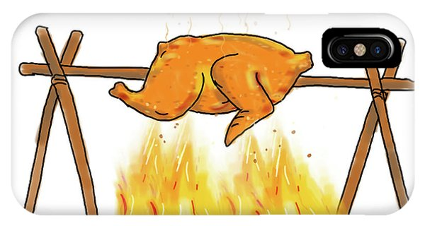 Barbeque iPhone Case - Chicken Roasting Barbecue Drawing  by Aloysius Patrimonio