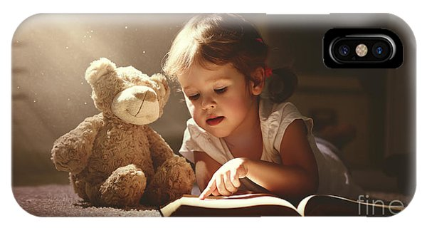 Reading iPhone Case - Child Little Girl Reading A Magic Book by Evgeny Atamanenko