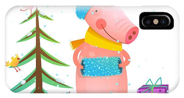 Present iPhone Case - Childish Cheerful Little Pig In Winter by Popmarleo