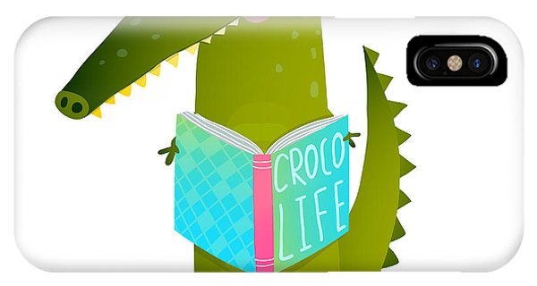 Students iPhone Case - Childish Student Crocodile Reading Book by Popmarleo