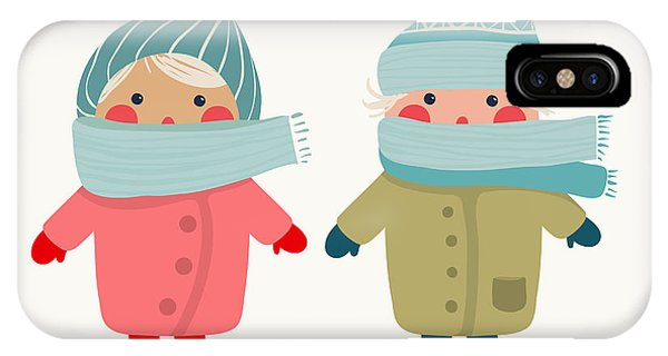 Small iPhone Case - Children In Winter Cloth. Winter Kids by Popmarleo