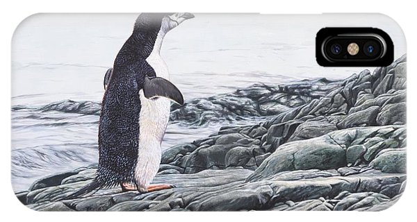 IPhone Case featuring the painting Chinstrap Penguin On A Rock By Alan M Hunt by Alan M Hunt
