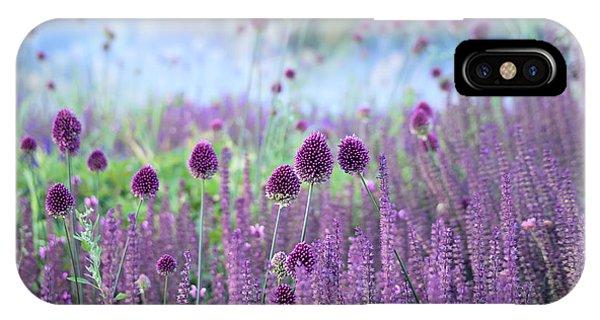 Bed iPhone Case - Chive Herb Flowers - Allium by Tatiana Belova
