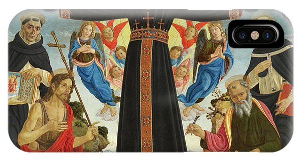 My Son iPhone Case - Christ On The Cross With Saints Vincent Ferrer, John The Baptist, Mark And Antoninus, 1495 by Master of the Fiesole Epiphany