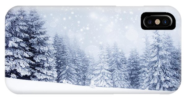 White Mountains iPhone Case - Christmas Background With Snowy Fir by Melinda Nagy