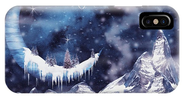 Half Moon iPhone Case - Christmas Card With Frozen Moon by Mihaela Pater