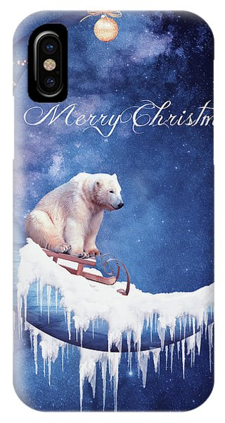 Having Fun iPhone Case - Christmas Card With Moon And Bear by Mihaela Pater