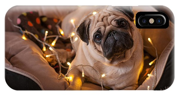 Pug iPhone X Case - Christmas Dog With Garland In Bed On by Nuraam