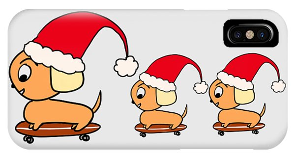 Christmas Dogs On Skateboards IPhone Case