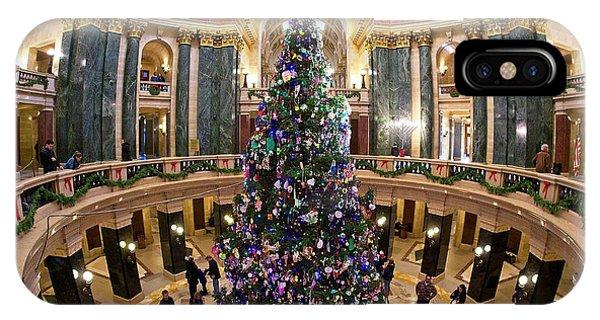 Christmas Tree -capitol - Madison - Wisconsin 1 IPhone Case