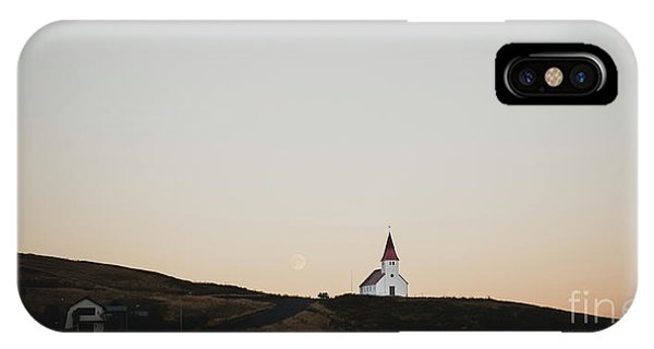 Church On Top Of A Hill And Under A Mountain, With The Moon In The Background. IPhone Case