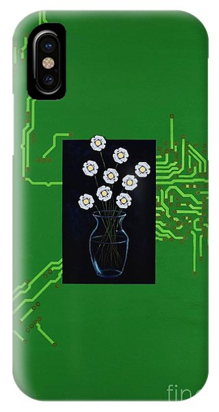 IPhone Case featuring the painting Circuit Board Bouquet by Mary Scott