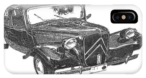 Arte iPhone Case - Citroen 11b 1956, Classic Car, Ink Drawing, Office Decoration by Drawspots Illustrations