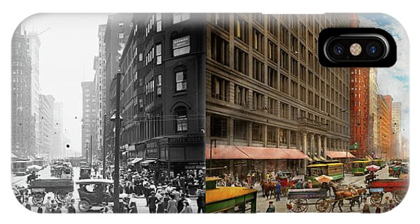 IPhone Case featuring the photograph City - Chicago Il - Marshall Fields Company 1911 - Side By Side by Mike Savad