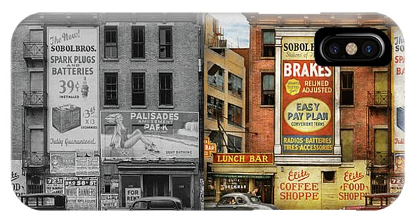 IPhone Case featuring the photograph City - New York Ny - Elite Lunch Bar 1938 - Side By Side by Mike Savad