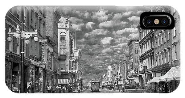 IPhone Case featuring the photograph City - Ny - Main Street Poughkeepsie, Ny - 1906 - Black And White by Mike Savad