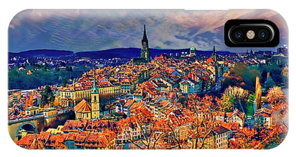 IPhone Case featuring the photograph City Of Bern Riverfront From Rose Garden Switzerland by Tom Jelen