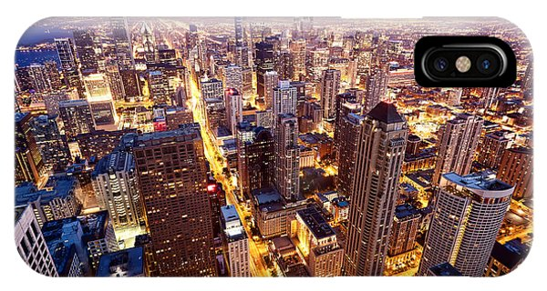 Dusk iPhone Case - City Of Chicago. Aerial View  Of by Andrey Bayda