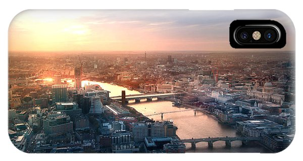 Office Buildings iPhone Case - City Of London Panorama In Sunset by Ir Stone