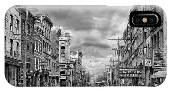 IPhone Case featuring the photograph City - Poughkeepsie Ny - The Ever Changing Market Place 1906 - Black And White by Mike Savad