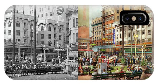 IPhone Case featuring the photograph City - San Diego Ca - A Busy Street Corner 1941 - Side By Side by Mike Savad