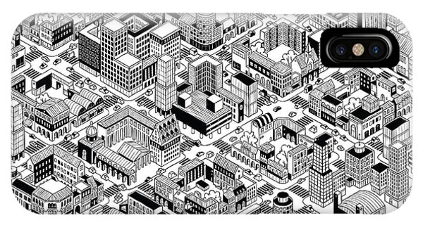 City Urban Blocks Seamless Pattern Phone Case by Vook