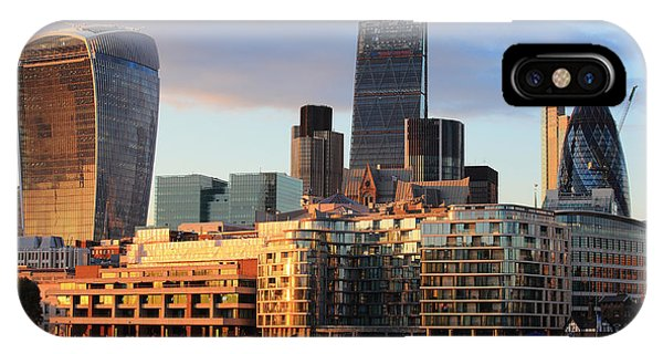Office Buildings iPhone Case - Cityscape Of London At Night, United by Aslysun