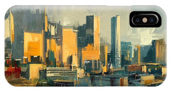 Rooftops iPhone Case - Cityscape Painting Of Urban Skyscrapers by Tithi Luadthong